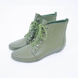 Loeffler Randall Rain Booties Lace Up Army Green